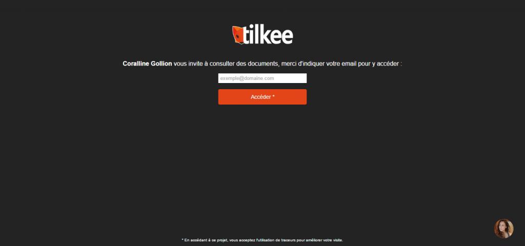 Tilkee_lien avec demande d'identification cliqué